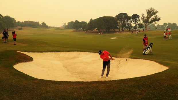 Sergio Garcia plays from a bunker. Photo: Mark Metcalfe/Getty Images