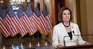 US  House Speaker Nancy Pelosi announcing that articles of impeachment are to be drawn up against US president Donald Trump. Photograph:  Andrew Harrer/Bloomberg