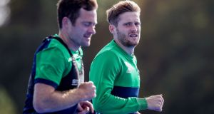 John Jackson and Michael Robson training with the Ireland senior men's hockey team at the  National Sports Campus, Abbotstown.  Photograph: Bryan Keane/Inpho