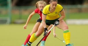 Orla Fox: Railway Union player was on target as Ireland returned to the indoor hockey arena against South Africa  in Durban. South Africa won 2-1.  Photograph:  Laszlo Geczo/Inpho