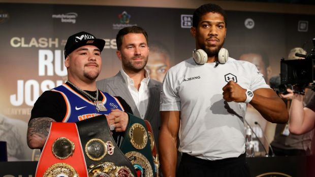 Andy Ruiz Jr and Anthony Joshua will meet in a rematch in Saudi Arabia on Saturday night. Photograph: Richard Heathcote/Getty