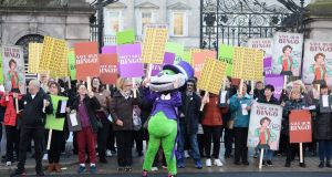 Protesters against Government plans for bingo outside the Dáil on Tuesday. Photograph: Dara Mac Donaill