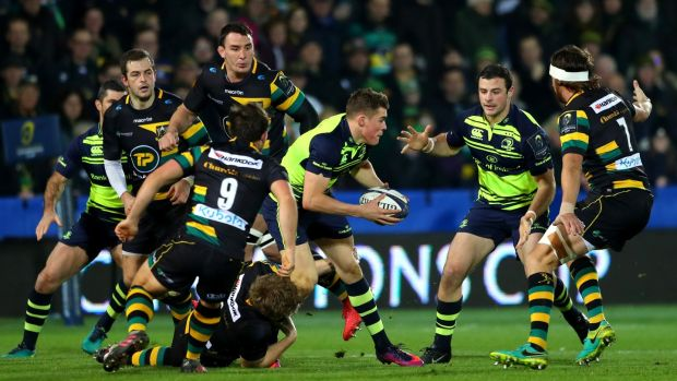 Finn Russell Garry Ringrose and Robbie Henshaw in action for Leinster at Franklins Gardens in 2016. Photograph: James Crombie/Inpho