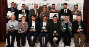 SSE Airtricity League club award winners with FAI Director of Competitions Fran Gavin and  SSE Airtricity sponsorship manager Leanne Shiel at Knightsbrook Hotel in Trim, Co Meath. Photograph: Stephen McCarthy/Sportsfile