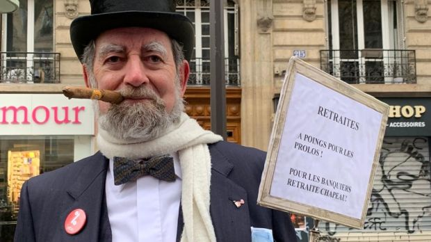 Hubert Labrousse, a protester with Attac, is disguised as a caricature rich man at a protest in Paris on Thursday. Photograph: Lara Marlowe