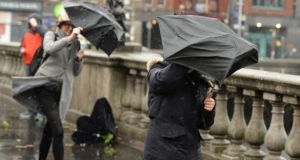 Southwesterly winds, later veering northwesterly will reach mean speeds of 65 to 80 km/h with gusts from 110 to 130km/h. Photograph: Dara Mac Donaill/The Irish Times