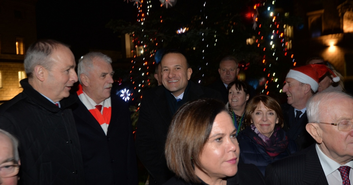 Christmas cheer:  Micheál Martin, Finian McGrath, Taoiseach Leo Varadkar, Mary Lou McDonald, Róisín Shortall and Shane Ross at the Oireachtas Christmas tree lights switching-on ceremony at Leinster House.  Photograph: Alan Betson