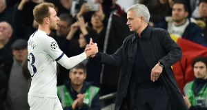 Jose Mourinho will  not  reveal the outcome of  talks he has had with midfielder Christian Eriksen about the Danish international's future at Tottenham Hotspur. Photograph:  Glyn Kirk/Ikimages/AFP via Getty Images