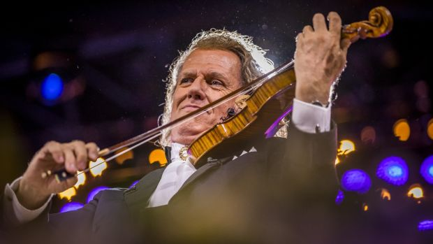 André Rieu performing in his home city of Maastricht: The film of his 2018 Maastricht concert – Amore, My Tribute to Love – grossed £1.67 million over two weekends in Britain and Ireland. Photograph: Marcel van Hoorn