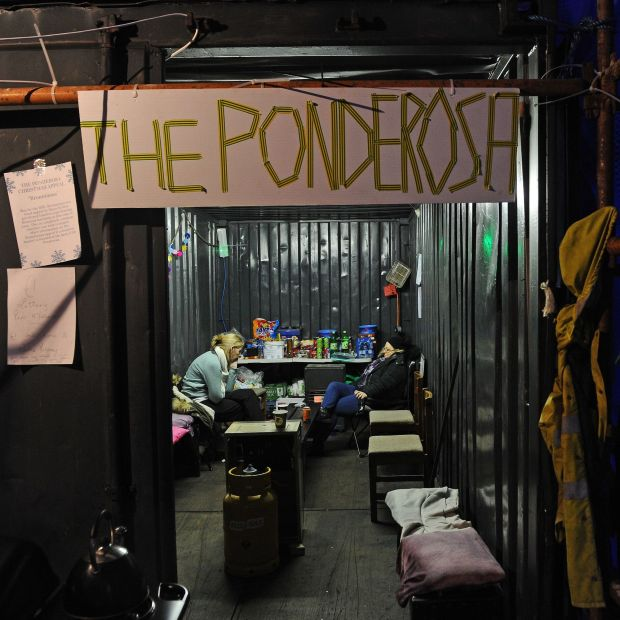 Inside the caravan hut assembled by Pollagh community group at the Achill Head Hotel vigil. Photograph: Conor McKeown