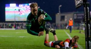 Connacht's John Porch scores a try against Southern Kings last month at the Sportsground. Photograph:  Bryan Keane/Inpho