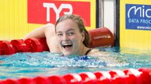 Ireland's Mona McSharry reacts after winning her semi-final in the  100m breaststroke to qualify in first place for Saturday's final at the European Short Course Swimming Championships at Tollcross International Swimming Centre in Glasgow. Photograph:   Ian Rutherford/PA Wire