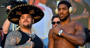 Andy Ruiz jnr and Anthony Joshua at the weigh-in for their IBF, WBA, WBO & IBO heavyweight title fight in Riyadh. Photograph: Richard Heathcote/Getty Images
