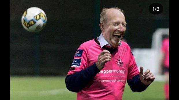Shane Ross takes to the pitch during a friendly game organised by Lynn Ruane