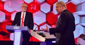 A snap poll from YouGov found the public almost evenly divided over who won the debate, with 48 per cent saying Jeremy Corbyn came out on top and 52 per cent choosing Boris Johnson. Photograph: Jeff Overs/EPA/BBC