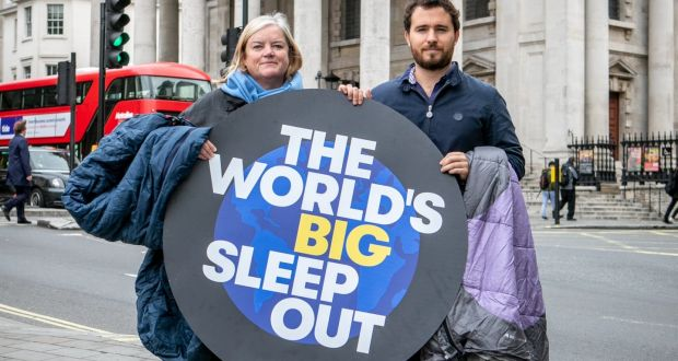 Dame Louise Casey and Josh Littlejohn who have organised the world's sleep out taking place this weekend. Photograph: The World's Big Sleep Out