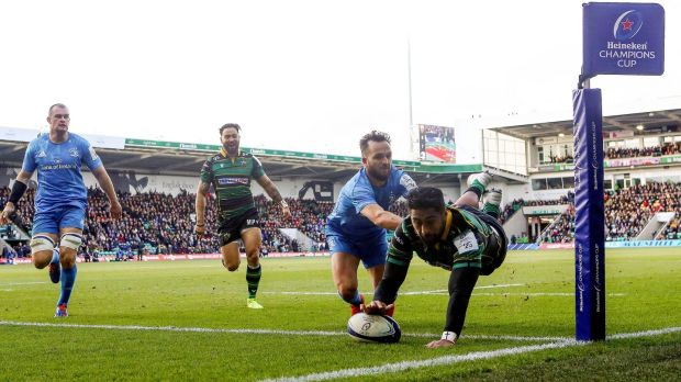 Ahsee Tuala dives to score for Northampton against Leinster. Photograph: James Crombie/Inpho