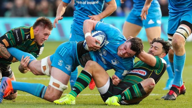Rugby James Ryan carries during Leinster's convincing win away to Northampton. Photograph: Billy Stickland/Inpho