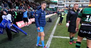 Leinster's Jonathan Sexton pictured with strapping to his right knee   after the match at Franklin's Gardens. Photograph: Billy Stickland/Inpho