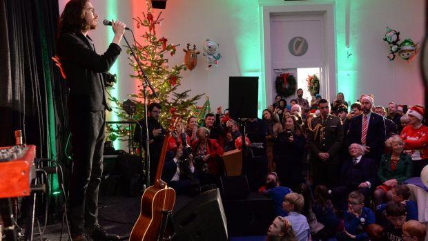 Hozier entertains at the tree-lighting ceremony at the Áras. Photograph: Dara Mac Dónaill