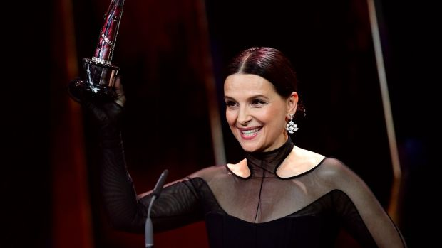 "Iranian director Jafar Panahi said she ""changed the geography of cinema for me"": French actor Juliette Binoche after being awarded the European Achievement in World Cinema award during the 32nd European Film Awards ceremony in Berlin, Germany, on Saturday evening. Photograph: Clemens Bilan/EPA"
