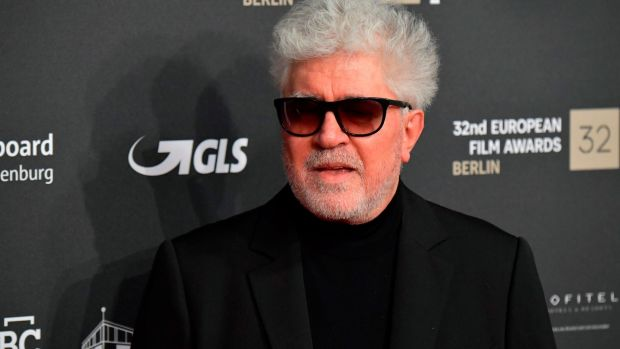 Spanish director Pedro Almodóvar arrives for the European Film Festival awards ceremony on Saturday evening in Berlin. His gorgeous Pain & Glory won for Antxon Gómez's production design. Photograph: Tobias Schwarz/AFP/Getty