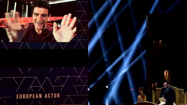 Skype or Facetime? Spanish actor Antonio Banderas gives thanks on a big screen after being awarded Best European Actor at the 32nd European Film Awards at Haus Der Berliner Festspiele in Berlin, Germany. Photograph: Clemens Bilan/Getty