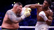 Anthony Joshua lands a right to the face of  Andy Ruiz Jr during the heavyweight title fight  in Diriyah, Saudi Arabia. Photograph: Richard Heathcote/Getty Images