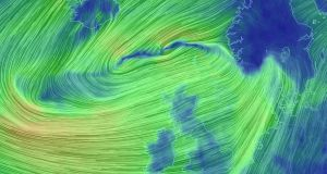 Storm Atiyah tracks from Iceland to Ireland on Sunday morning. Photograph: Earth.nullschool.net.