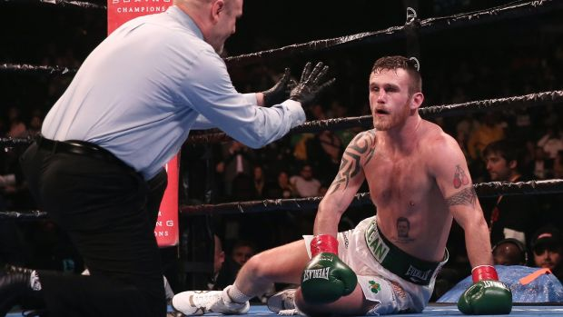 Dennis Hogan suffered a seventh round knockout in new York. Photograph: Peter Foley/EPA