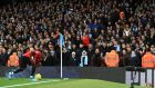 Fred goes to take a corner during Manchester United's win over Manchester City. Photograph: Mike Egerton/PA