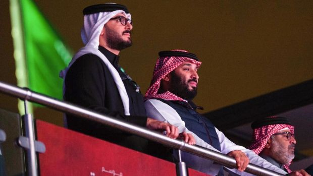 Saudi Crown Prince Mohammed bin Salman attends the fight. Photo: Bandar Al-Jaloud/Saudi Royal Palace