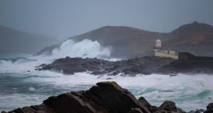 Storm Atiyah makes landfall at Cromwell Point Lighthouse on Valentia Island, Co Kerry.  Photograph: Alan Landers