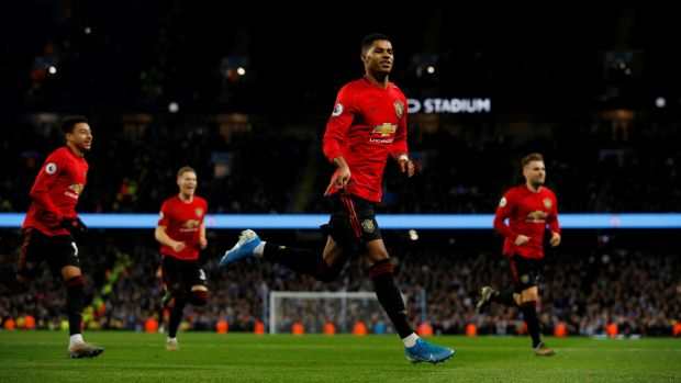 Manchester United's Marcus Rashford celebrates scoring the opening goal against at the Etihad Stadium. With the possible exception of Jamie Vardy there is no more dangerous counter-attacking forward in the Premier League. Photograph: Phil Noble/Reuters