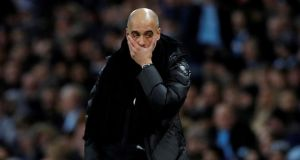 Manchester City manager Pep Guardiola knew what was coming against Manchester United but they proved incapable of stopping it. Photograph: Phil Noble/Reuters