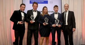 Irish Commercials Young Horse Championship Medalists Eddie Maloney, Clare Hughes, Seamus Hughes Kennedy and Barry Horan of Irish Commercials pictured at the Annual Awards Evening. Photo: Bryan Keane/Inpho
