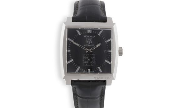 Stainless steel men's Tag Heuer Monaco watch €1,000-€1,500, Adam's At Home sale December 15th