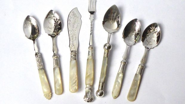 19th-century cutlery, silver plated with mother-of-pearl handles, €35-€50, from The Silver Shop, Dublin.