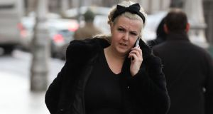 Sarah Sarsfield, mother of Mason Sarsfield, of Aughavannagh Road, Crumlin, Dublin 12, pictured leaving court after her son was awarded  €35,000  on Monday. Photograph: Collins Courts