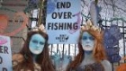 Mermaids lead protest against overfishing outside Leinster House