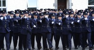 Garda recruits are pictured during a parade at the Garda College in Templemore. The Garda Press Office said the new uniform was being introduced based on feedback from gardaí. File photograph: Cyril Byrne/The Irish Times