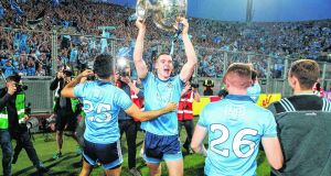 Dublin celebrate their latest All Ireland victory. The five-in-row winners tend to sell more replica jerseys than any other team. Photograph: Inpho