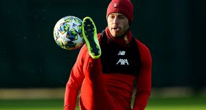 Alex Oxlade-Chamberlain of Liverpool during a training session at Melwood Training Ground in advance of the visit to Red Bull Salzburg. Photograph:  Andrew Powell/Liverpool FC via Getty Images
