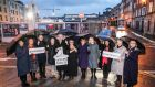 Representatives from a number of organisations at the launch of the Courting Disaster campaign at Hammond Lane in Smithfield in Dublin where it is proposed a new family law court be constructed.  Photograph: Conor McCabe Photography/PA Wire