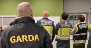 In a joint operation with Spanish police, Gardaí from the National Immigration Bureau (GNIB) arrested a man and a woman, aged 45 and 22, in north Dublin on Tuesday. Photograph: Garda Facebook