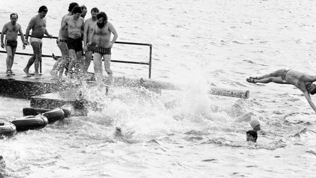 A Christmas Day swim in Clontarf in 1984. Photograph: Tom Lawlor/The Irish Times
