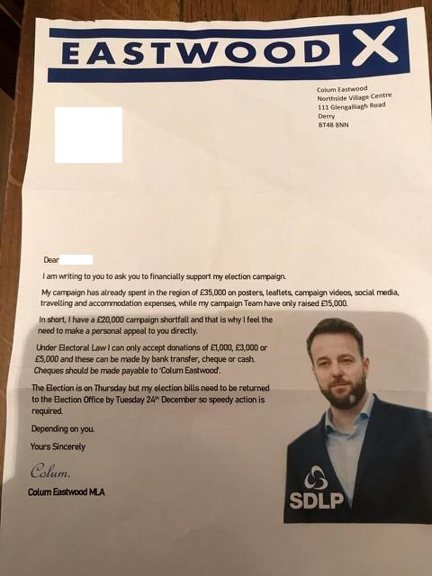 The fake letter which was sent to voters in Foyle on Tuesday.