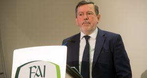 FAI president Donal Conway at the publication of the association's  accounts at  Abbotstown in  Dublin last Friday. Photograph: Gareth Chaney/Collins