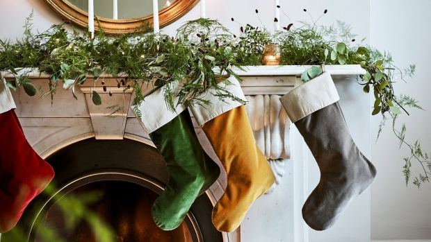 All set for Santa, Neptune's Isla velvet Christmas stockings in jewel-like colours, large price €86. See neptune.com for Irish stockists.