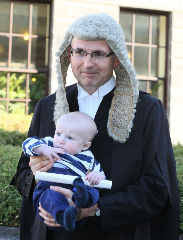 The late Paul Anthony McDermott SC pictured with his son, Harry (4months old) following a ceremony in the Supreme Court where he was called to the inner bar in 2015. Photograph: Collins Courts